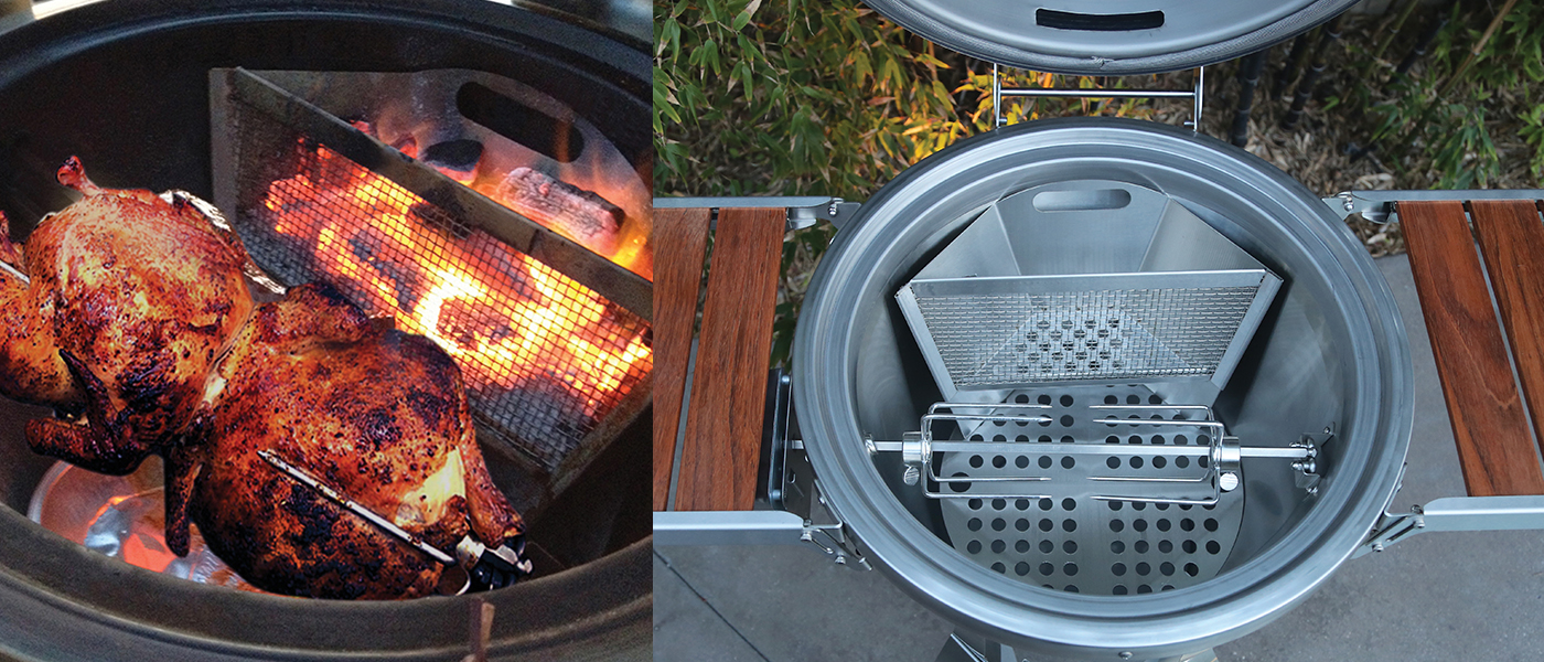 Caliber Pro Kamado Charcoal Grill Flue System and Rotisserie